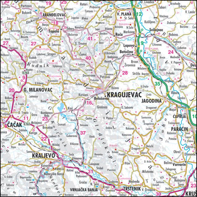 cela karta srbije Auto zidna karta cela karta srbije